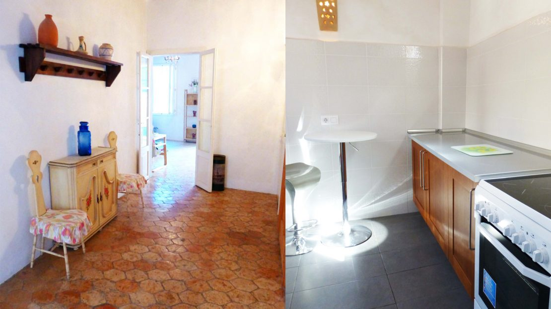 Hall and Kitchen area of Palma Old Town Apartment