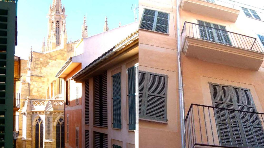 View from Balcony and Facade of Palma Old Town Apartment